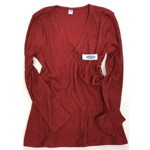 Old Navy Women's Wrap-Front Red Top